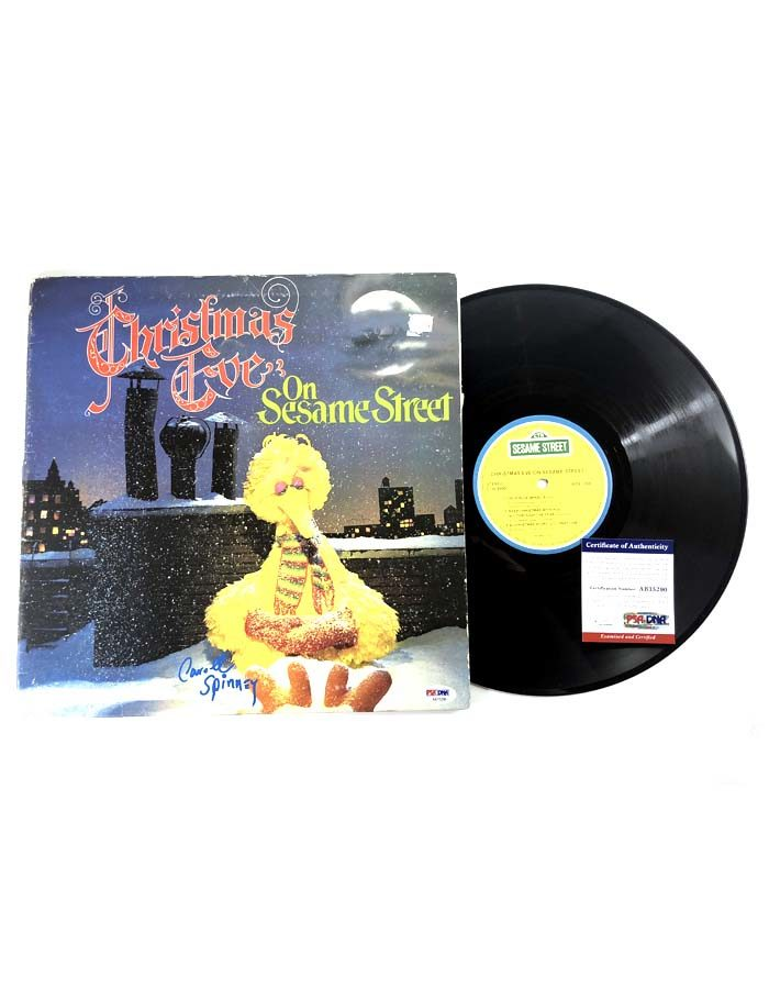 Caroll Spinney signed Christmas Eve on Sesame Street Vinyl Record