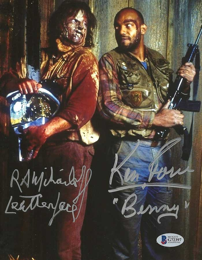 R.A. Mihailoff & Ken Foree signed 8x10 Photo Leatherface