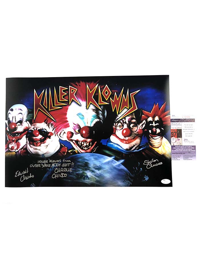 "The Chiodo Brothers signed 12""x18"" Killer Klowns from Outer Space Poster"