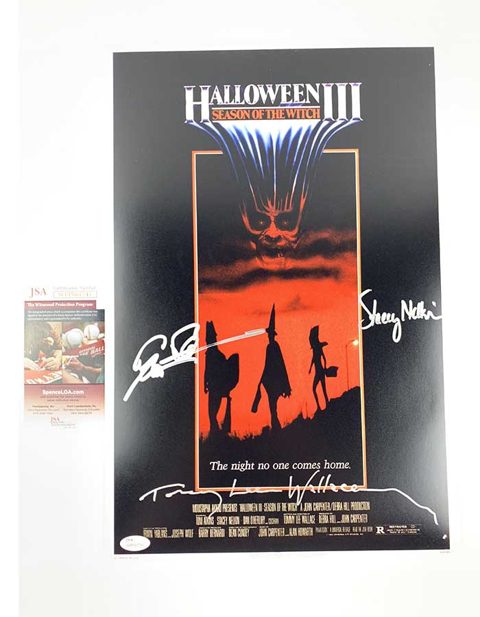 Stacey Nelkin, Tommy Lee Wallace, and Tom Atkins signed 12x18 Poster Halloween III