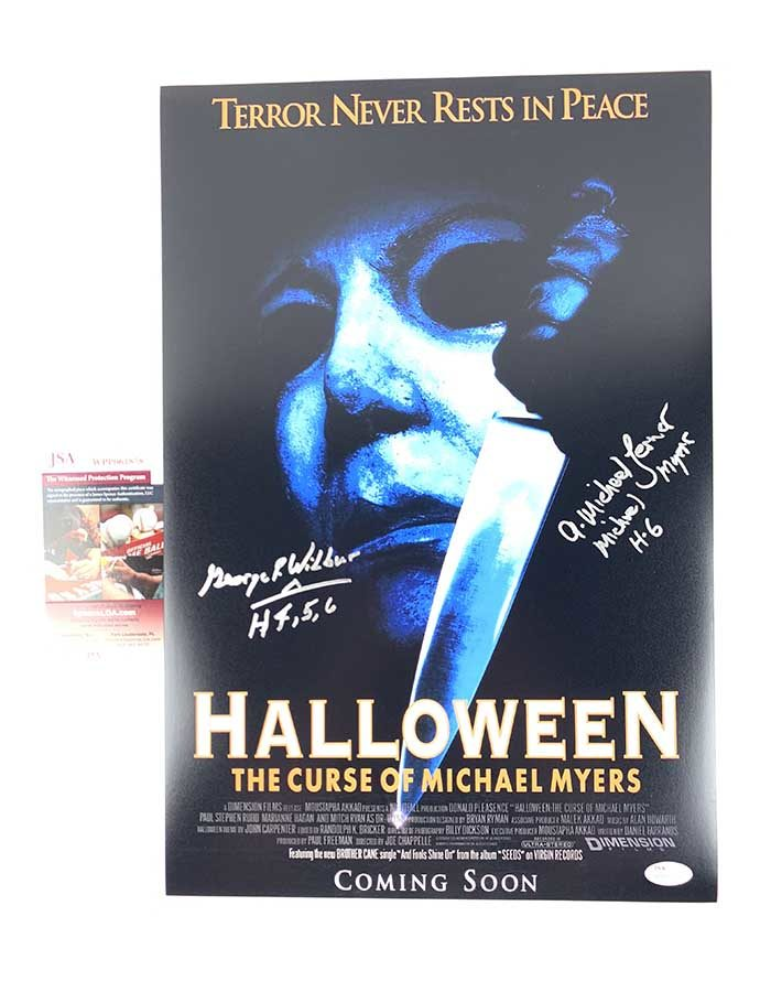 George P. Wilbur & A. Michael Lerner Signed 12x18 Poster Curse of Michael Myers Halloween